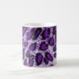 Black Purple Leopard Pattern Print Design Coffee Mug
