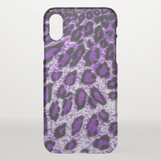 Black Purple Leopard Pattern Print Design iPhone X Case