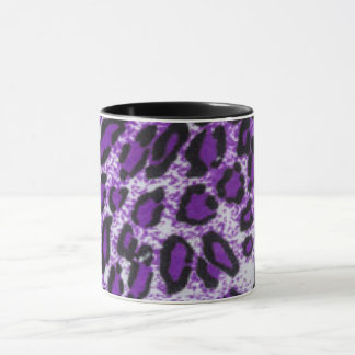 Black Purple Leopard Pattern Print Design Mug