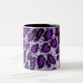 Black Purple Leopard Pattern Print Design Two-Tone Coffee Mug