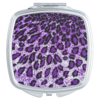 Black Purple Leopard Pattern Print Design Vanity Mirror