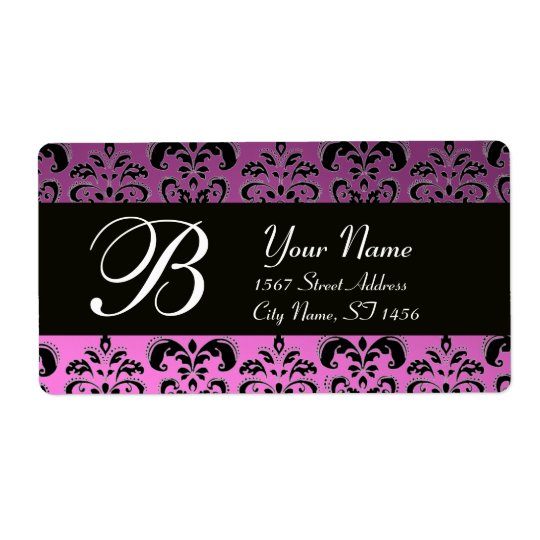 BLACK PURPLE  LILAC DAMASK MONOGRAM SHIPPING LABEL