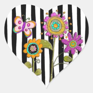 Black  Purple Pink Folk Art Flowers Sticker