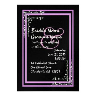 Black & Purple Pink Scroll Work Wedding Invitation