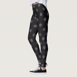 Black/Purple Polka Dot Leggings