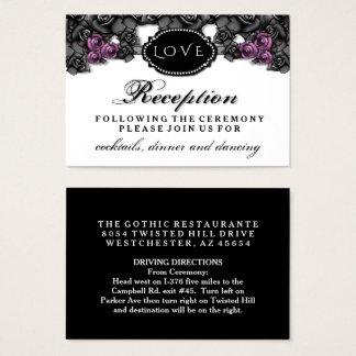 Black Purple Rose LOVE Halloween Wedding Reception Business Card