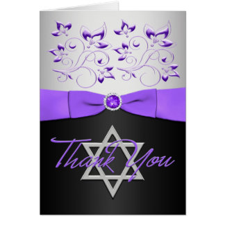 Black, Purple, Silver, Bat Mitzvah Thank You Card