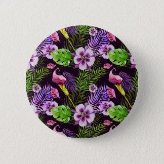 Black purple tropical flora watercolor pattern 2 inch round button
