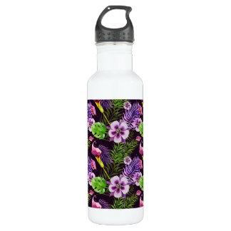 Black purple tropical flora watercolor pattern 710 ml water bottle