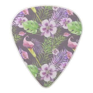Black purple tropical flora watercolor pattern acetal guitar pick