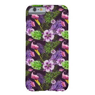 Black purple tropical flora watercolor pattern barely there iPhone 6 case