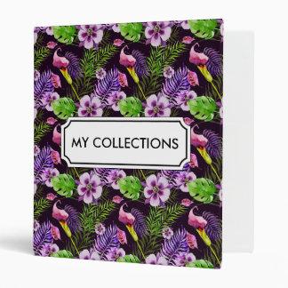 Black purple tropical flora watercolor pattern binder