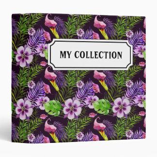 Black purple tropical flora watercolor pattern binders