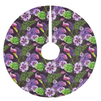 Black purple tropical flora watercolor pattern brushed polyester tree skirt