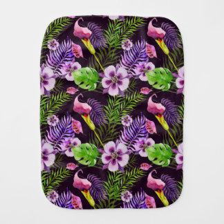 Black purple tropical flora watercolor pattern burp cloth