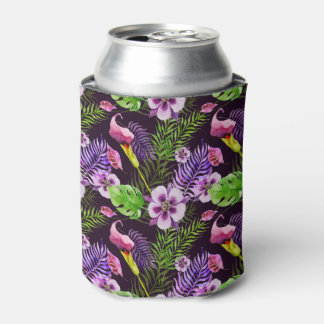 Black purple tropical flora watercolor pattern can cooler