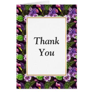 Black purple tropical flora watercolor pattern card