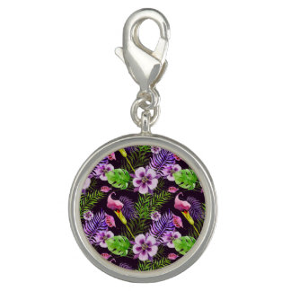 Black purple tropical flora watercolor pattern charm