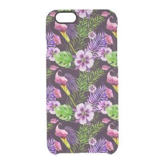Black purple tropical flora watercolor pattern clear iPhone 6/6S case