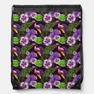 Black purple tropical flora watercolor pattern drawstring bag