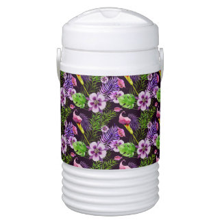 Black purple tropical flora watercolor pattern drinks cooler