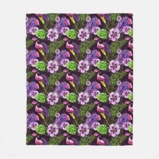 Black purple tropical flora watercolor pattern fleece blanket