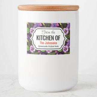 Black purple tropical flora watercolor pattern food label