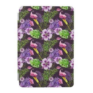 Black purple tropical flora watercolor pattern iPad mini cover
