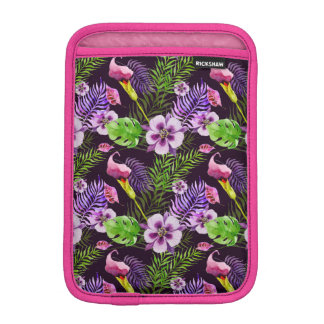 Black purple tropical flora watercolor pattern iPad mini sleeve
