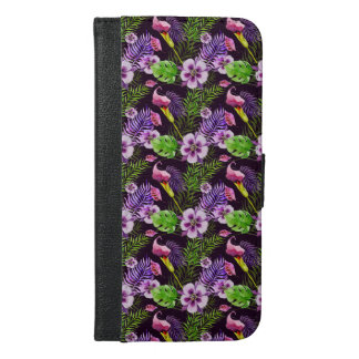 Black purple tropical flora watercolor pattern iPhone 6/6s plus wallet case
