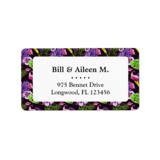 Black purple tropical flora watercolor pattern label