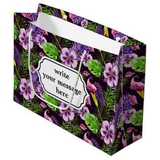 Black purple tropical flora watercolor pattern large gift bag