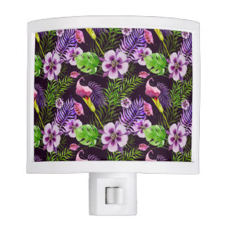 Black purple tropical flora watercolor pattern night lites
