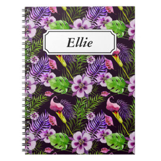 Black purple tropical flora watercolor pattern notebooks