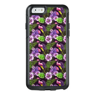 Black purple tropical flora watercolor pattern OtterBox iPhone 6/6s case