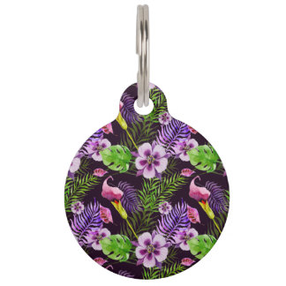 Black purple tropical flora watercolor pattern pet ID tag
