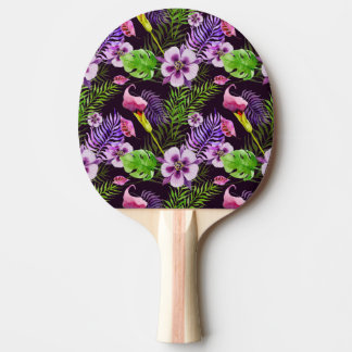 Black purple tropical flora watercolor pattern Ping-Pong paddle