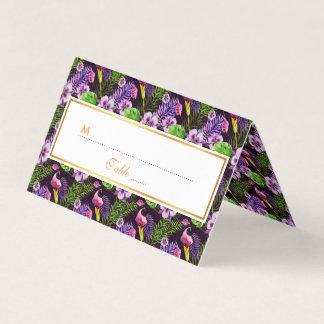 Black purple tropical flora watercolor pattern place card