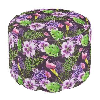 Black purple tropical flora watercolor pattern pouf