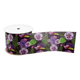 Black purple tropical flora watercolor pattern satin ribbon