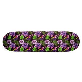 Black purple tropical flora watercolor pattern skate decks