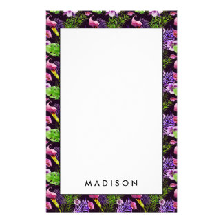 Black purple tropical flora watercolor pattern stationery