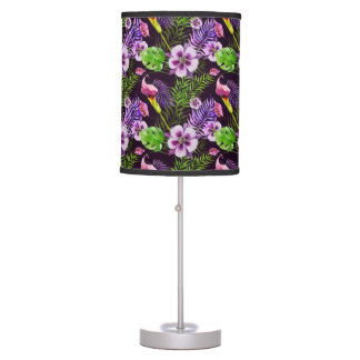 Black purple tropical flora watercolor pattern table lamp