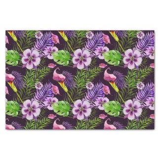 Black purple tropical flora watercolor pattern tissue paper