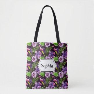 Black purple tropical flora watercolor pattern tote bag