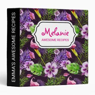 Black purple tropical flora watercolor pattern vinyl binder