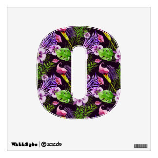 Black purple tropical flora watercolor pattern wall sticker