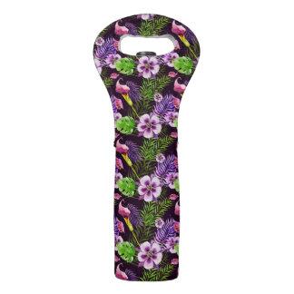 Black purple tropical flora watercolor pattern wine bag