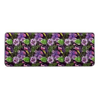Black purple tropical flora watercolor pattern wireless keyboard