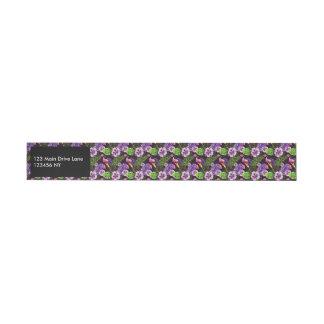 Black purple tropical flora watercolor pattern wraparound address label